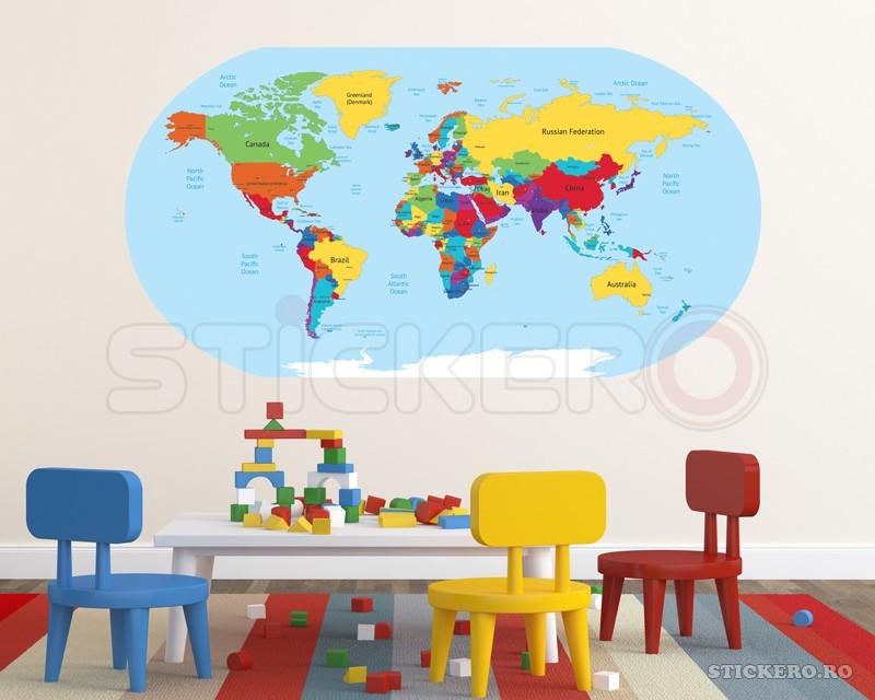 harta lumii sticker imprimat